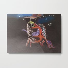 Goldfish Bubbles Metal Print