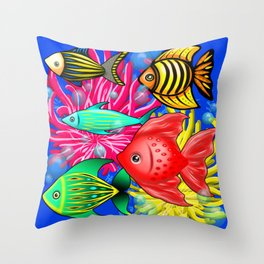 Fish Cute Colorful Doodles Throw Pillow