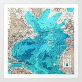 Vintage Blue Transatlantic Mapping Art Print