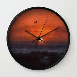 Sunset at the Coast Wall Clock