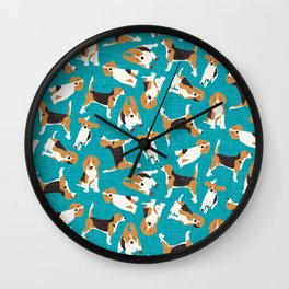 beagle scatter blue Wall Clock