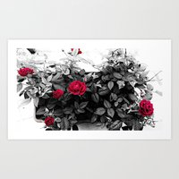 Retrò BW&Red Roses Art Print