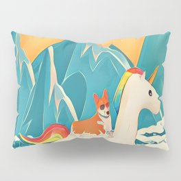 Corgi and the rainbow unicorn Pillow Sham