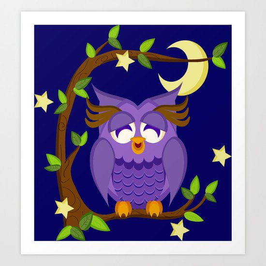 owl in the moonlight Art Print