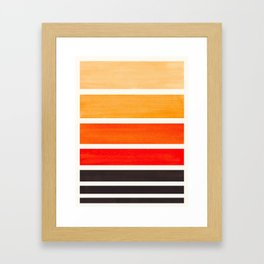 Orange Minimalist Mid Century Modern Color Fields Ombre Watercolor Staggered Squares Framed Art Print