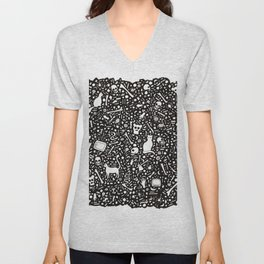 Black Ink Drawing with Cats, Bones, Skulls, Knives and Hearts. Unisex V-Neck