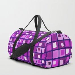Retro mid century modern purple square pattern Duffle Bag