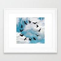 novelty Framed Art Prints featuring Time Flies  Novelty Bird Clock by KittyBitty