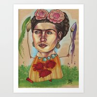 frida Art Prints featuring FRIDA by busymockingbird