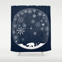 globe Shower Curtains featuring Snow Globe by Tobe Fonseca