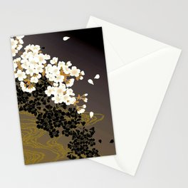 Japanese Sumi Black and White Cherry Blossom Stationery Cards