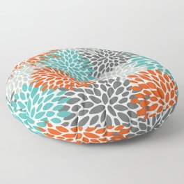 Floral Pattern, Abstract, Orange, Teal and Gray Floor Pillow