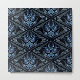 Art Deco 37. Black-blue satin . Metal Print