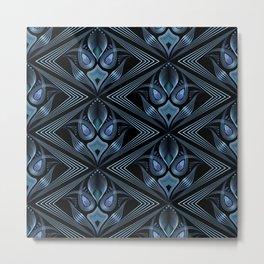 Art Deco 37. Black-blue satin . Metal Print
