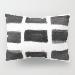 Brush Strokes Horizontal Lines Black on Off White Pillow Sham