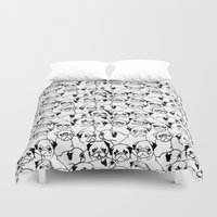 pugs Duvet Covers featuring Oh Pugs by Huebucket