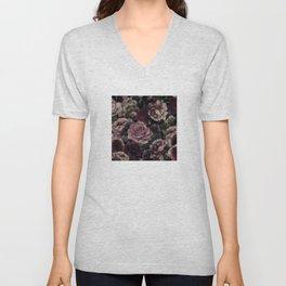 Roses In Burgundy And Pink Vintage Botanical Garden Unisex V-Neck