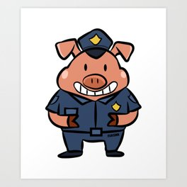 Police security piglets pig children gift Art Print