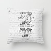 dumbledore Throw Pillows featuring Albus Dumbledore Quote Inspirational by Go Art