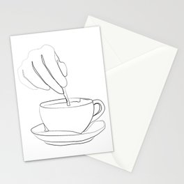 """ Kitchen Collection "" - Hand mixing coffee with a spoon Stationery Cards"