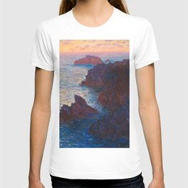Claude Monet Impressionist Landscape Oil Painting Sunset At Sea Cliffs Ocean Cliff Landscape T-shirt