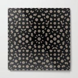 Dark Ditsy Floral Pattern Metal Print