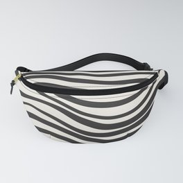 Wavy lines black and white Fanny Pack
