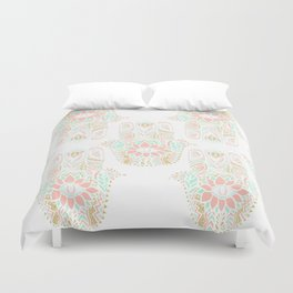 Modern girly pink mint gold Hamsa hand of fatima Duvet Cover