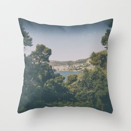 Panoramic view of Monaco from Cap Martin in summer Throw Pillow