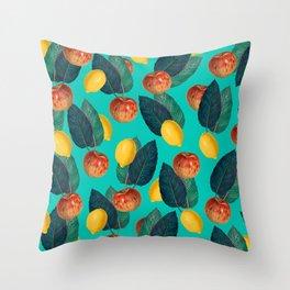 Apples And Lemons Teal Throw Pillow