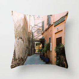 Moroccan Souk Alley - Marrakesh Morocco Travel Throw Pillow