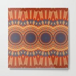 Orange Blue Multi Mandala Design Metal Print