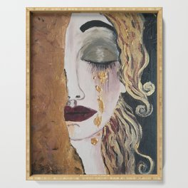 Woman in gold, Painting, Acrylic, The kiss, Kiss, Klimt inspired, Golden age Serving Tray