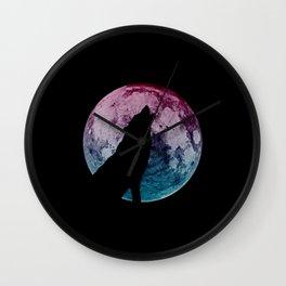 Wolf & Moon Wall Clock