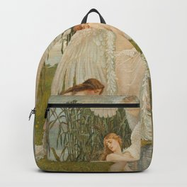 White Swans and the Maidens angelic garden landscape painting by Walter Crane  Backpack