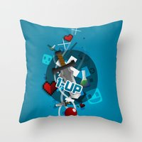 gaming Throw Pillows featuring I ❤ GAMING by Mikhail St-Denis