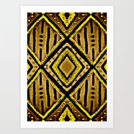Single Diamond in Gatsby Gold and Black Pattern Art Print