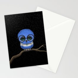Baby Owl with Glasses and Nicaraguan Flag Stationery Cards