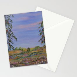 peach tree valley 2, modern impressionism art, landscape art Stationery Cards