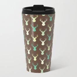 Brown ivory pastel green vector deer animal pattern Metal Travel Mug