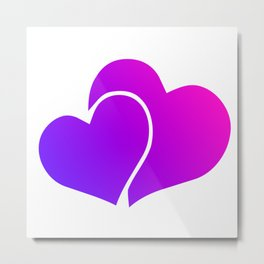 Pink and Purple Gradient Double Hearts Metal Print