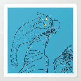 Everything I know I learned from my cat (blue) Art Print