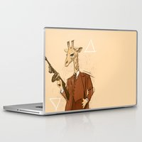 gangster Laptop & iPad Skins featuring Gangster Giraffe by Ichorteeth