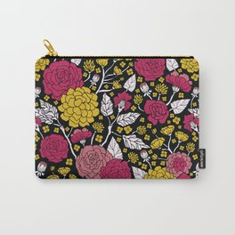 Yellow, Magenta, Black & White Floral Pattern Carry-All Pouch