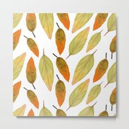 Autumn Watercolor Fall Watercolor Leaves Metal Print