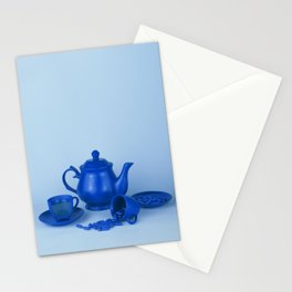 Blue tea party madness - still life Stationery Cards