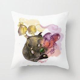 Mushrooms, dragon eggs and a mole Throw Pillow