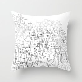 City drawing italian coloring page style Throw Pillow