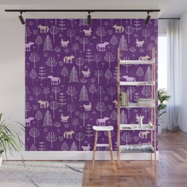 Modern hand painted violet pink white forest trees animals pattern Wall Mural