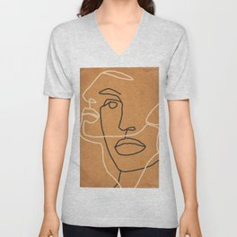 Abstract Face 6 Unisex V-Neck